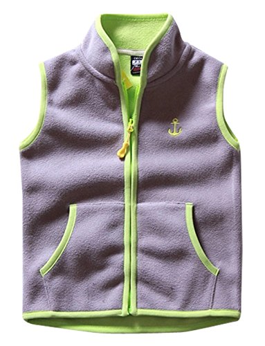 Aivtalk Little Girls Vest Soft Warm Fleece Sleeveless Jacket Anchor Pattern Outdoor Sport Waistcoat 2-3T Gray