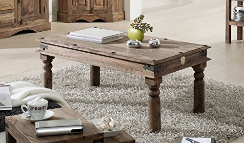 MASSIVMOEBEL24.DE Massiv Holz Kolonialart Möbel Sheesham geölt Couchtisch 110x60 Palisander grau Massivmöbel grau LEEDS #27