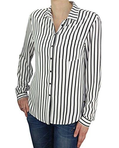 khujo Damen Bluse Tunika Conny Shirt Streifen weiß schwarz Langarm (XL)