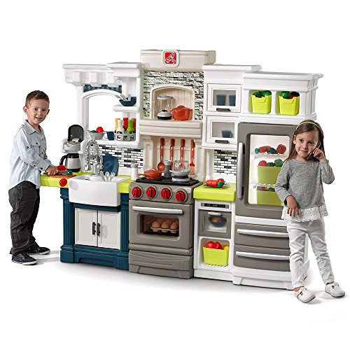 Step2 Elegant Edge Play Kitchen | Large Kids Kitchen Playset with Real Lights & Sounds | Over 70-Pc Play Food & Toy Accessories Set Included