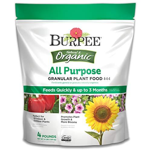 Burpee Natural Organic All Purpose Granular Plant Food 4-4-4, 4 lb