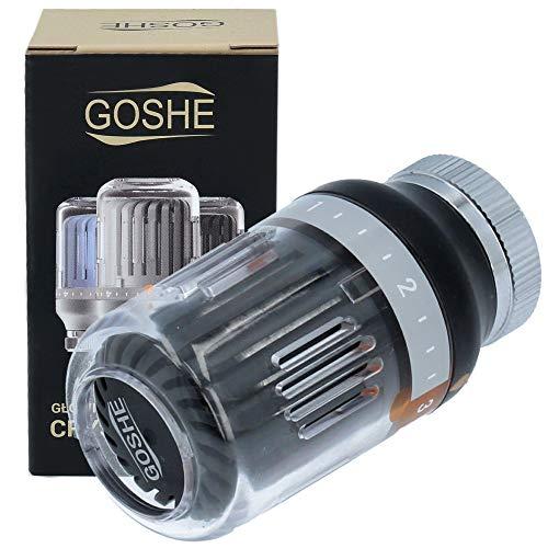 GOSHE CRYSTAL COLOR Heizkörper Thermostatkopf M30 x 1,5 Schwarz | Thermostat Heizung Thermostatventile Heizkörperthermostat Heizkörper Ventil Adapter Heizungsventil Heizungsthermostat
