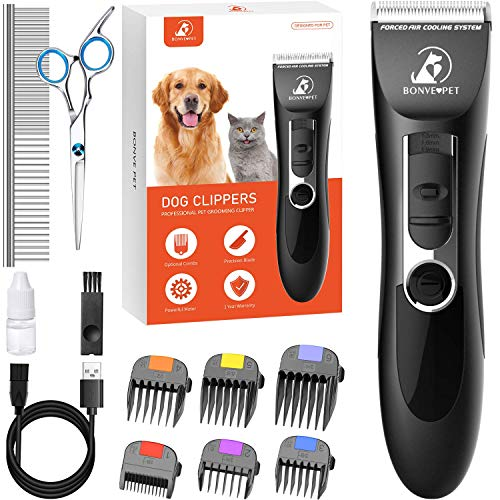 Bonve Pet Dog Clippers, Dog&Cat Grooming Kit Noiseless Cordless Dog Grooming Clippers Professional Rechargeable Dog Trimmer Electric Hair Clippers for Thick Coats Dogs Cats Pets, Black-Dog Clippers