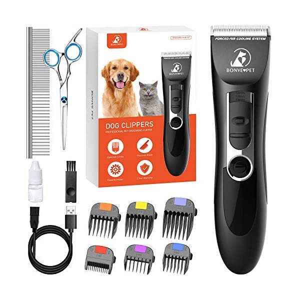 Dog Clippers, Dog Grooming Kit Noiseless Cordless Dog Grooming Clippers Professional Rechargeable Dog Trimmer Electric Hair Clippers for Thick Coats Dogs Cats Pets
