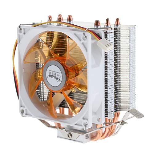 MagiDeal CPU Cooler 3 Heatpipe Ventilador de 9 Cm para Intel, AMD, LGA 775/1366/1150/1151/1155/1156 Amarillo