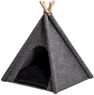 MYANIMALY TIPI-tält för husdjur, L - 100 cm x 100 cm, Grey/Black