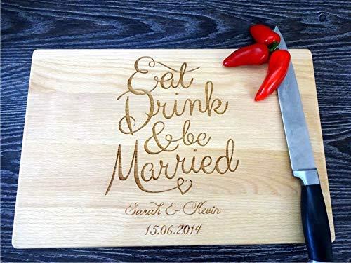 Personalisiertes Schneidebrett EAT DRINK and be MARRIED. Frühstücksbrettchen. Käse, Brot Schneidebrett, Personalisierbar mit Lasergravur