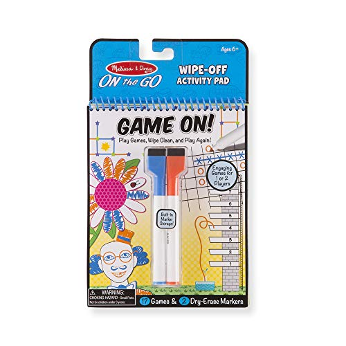 Melissa & Doug On The Go Game On! Reusable Games Wipe-Off Activity Pad Reusable Travel Toy with 2 Dry-Erase Markers