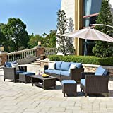 ovios Patio furnitue, Outdoor Furniture Sets,Morden Wicker Patio Furniture sectional with Table and 2 Pillows,Backyard,Pool,Steel (Brown-Blue)