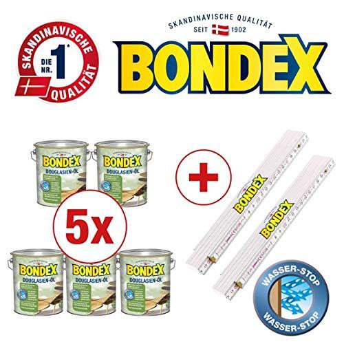 Bondex BigPack XXL 5x Douglasien Öl Douglasie 4,00l 329616 + 2 x Bondex Zollstock