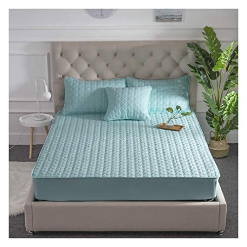 YWYW Queen Mattress Cover Quilted Hypoallergenic Mattress Cover with Elastic Band Breathable Mattress Cover suitable for 2-6 inch deep mattress topper, green, 100x200 cm (39x79 inch)