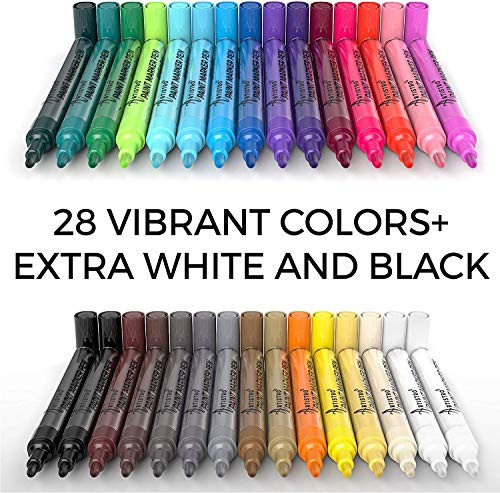 Acrylic Paint Pens – 30 Acrylic Paint Markers Medium Tip (2mm) - Great for Rock Painting, Wood, Fabric, Card, Paper, Photo Album, Ceramic & Glass - 28 Colors + Extra Black & White Paint Marker Set Photo #4