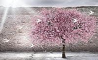 壁の壁画 壁紙 レンガの壁のピンクの桃の木 壁画 壁紙 ベッドルーム リビングルーム ソファ テレビ 背景 壁 壁面装飾のための,150x105cm