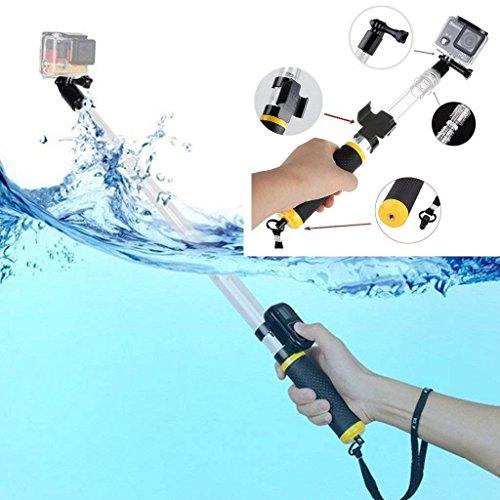 eluugie Ausziehbar Floating Selfie Stick für GoPro Unterwasser Einbeinstativ Handstativ 35,6–55,9cm Teleskopstange Hand Grip für GoPro Hero 5Session, 4, 3,2,1HD Kameras