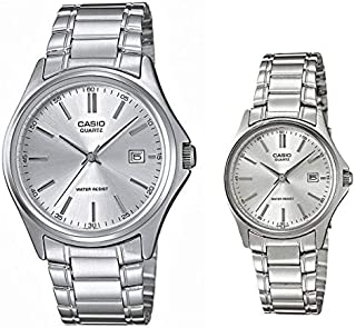 Casio His & Her Silver Dial Silver Tone Couple Watch (MTP/LTP-1183A-7A)