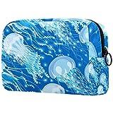 Bolsa de Maquillaje Medusa Azul Neceser de Cosméticos y Organizador de Baño Neceser de Viaje Bolsa de Lavar para Hombre y Mujer 18.5x7.5x13cm
