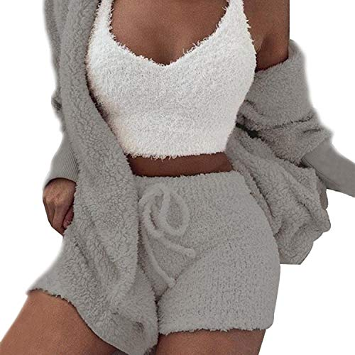 Womens Sexy Fuzzy Warm Sherpa Fleece 3 Piece Outfit Fleece Coat Jacket Outwear and Spaghetti Strap Crop Top Shorts Set (Grey, L)