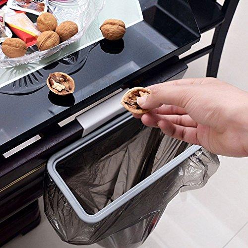 Colgador de cocina Estante de almacenamiento de basura Bolsa de basura Soporte de bolsa de basura Armario de armario Puerta trasera Soporte de bolsa de basura de almacenamiento, Blanco y gris