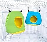 Voarge Hamaca de peluche para loros, hamaca de invierno cálida, accesorios para mascotas, pájaros, columpio colgante redondo, decoración de jaulas, animales pequeños (L)