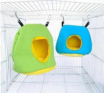 Voarge Nid de perroquet en peluche - Hamac chaud pour l'hiver - Accessoires pour animaux de compagnie - Balançoire ronde - Décoration de cage - Petits animaux (M)