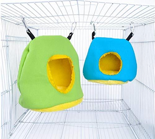Voarge Hamaca de peluche para loros, hamaca de invierno cálida, accesorios para mascotas, pájaros, columpio colgante redondo, decoración de jaulas, animales pequeños (M)