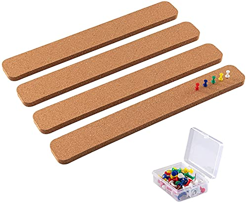 """HBlife Cork Board Strong Self Adhesive Bulletin Board Bar Strip 15"""" x 2""""- 1/2"""" Thick 100% Natural Frameless Semicircle Cork Board Strips with 50 Multi-Color Push Pins for Classroom Office Home"""