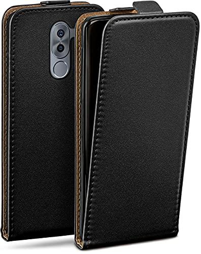moex Flip Hülle für Honor6X / GR5 (2017) - Hülle klappbar, 360 Grad Klapphülle aus Vegan Leder, Handytasche mit vertikaler Klappe, magnetisch - Schwarz