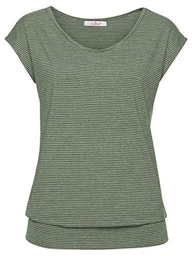 ELFIN T-Shirt Damen Kurzarm Sportshirt Basic Streifen Oberteil Rundhals Lose Tee