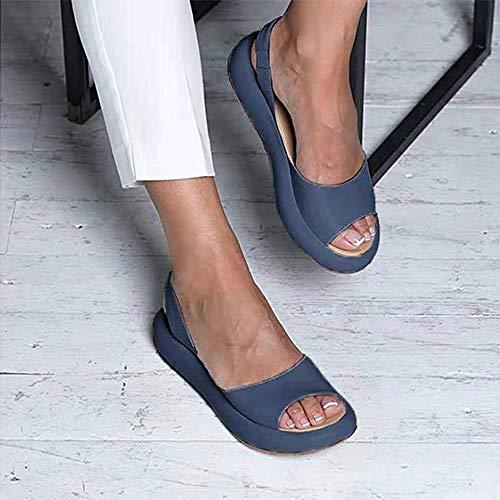 AKQITHJK Women'S Sandals,Blue Platform Fashion Elastic Band Anti-Slip Women Slippers Soft Comfortable Home High Heels Sandals Outdoor Beach Travel Casual Shoes-39