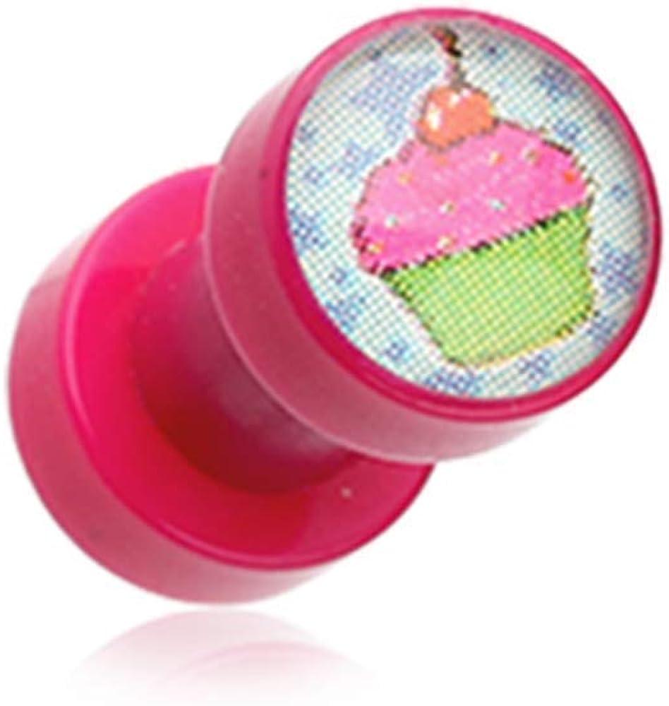 Covet Jewelry Cupcake Star Acrylic Screw-Fit Ear Gauge Plug