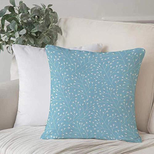 Funda de almohada, Funda de cojín Azul claro, delicadas flores de invierno Patrón de naturaleza Ramas decorativas Floraciones Brotes, Decoración del hogar Funda de cojín Cuadrado acogedor para sofá Fu