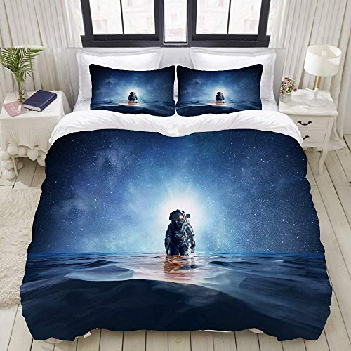 Rorun DuvetCoverSet, Spaceman Sea Mixed Media, ColourfulDecorative3PieceBeddingSetwith2PillowShams
