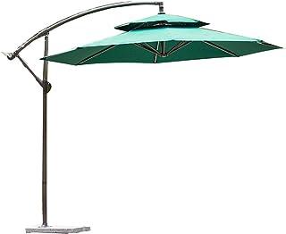 Paraguas al Aire Libre jardín publicitario,ABS Plástico Hierro Montado a Mano Suspensión Compensada de diseño Superior Doble con Base de mármol,Estilo Moderno