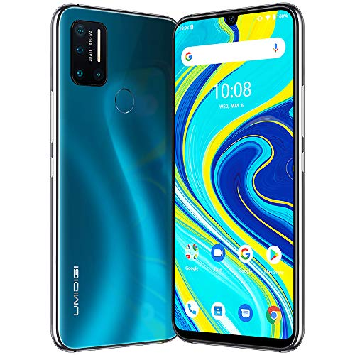 UMIDIGI A7 Pro Smartphone ohne vertrag günstiges Android 10 Handy mit 4GB + 128GB, 6.3 Zoll Full FHD+ Display, AI Quad Kamera, 4150mAh großer Akuu, Global Version, Glasrückseite, Meerblau