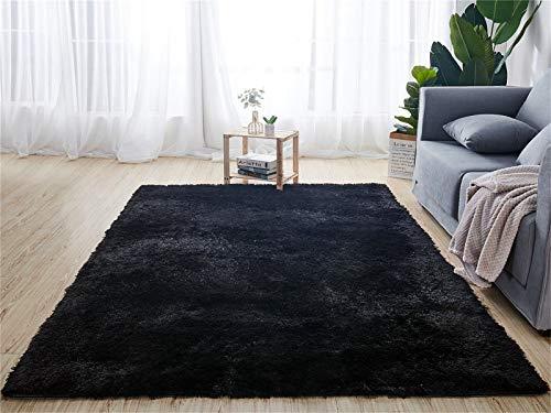 Tapis d'intérieur modernes ultra doux tapis de salon moelleux adaptés aux enfants chambre décor à la maison tapis rectangulaire (80X120cm, noir)