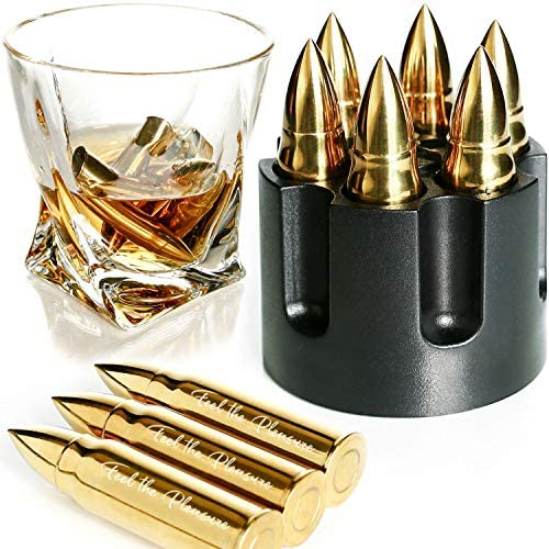 GOLDEN WHISKEY STONES EXTRA LARGE 6 PCS STAINLESS STEEL BULLETS with Revolver Barrel Base Laser product image