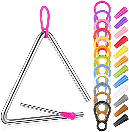 4 Piezas Instrumento de Percusión de Mano de 5 Pulgadas Triángulos Musicales de Acero con Huelguista, Juego de Instrumento de Triángulo de Música de Iluminación para Niños