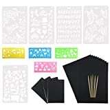 Wartoon 50 hojas Rainbow Scratch Art Paper Magic Painting Papers Scratch Boards con una sola pieza Palillos Stylus de madera 10 reglas de pintura