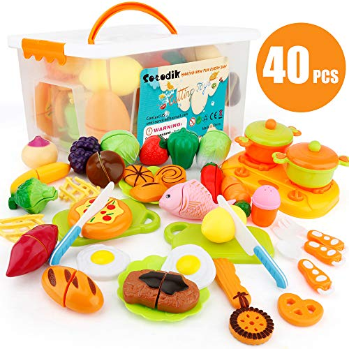Sotodik 40PCS Kitchen Toys Cutting Toys Pretend Vegetables Fruits Play Food Educational Toys for Girls Boys Kids With Storage Case