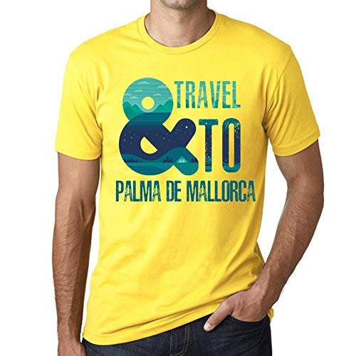 One in the City Hombre Camiseta Vintage T-Shirt Gráfico and Travel To Palma DE Mallorca Amarillo