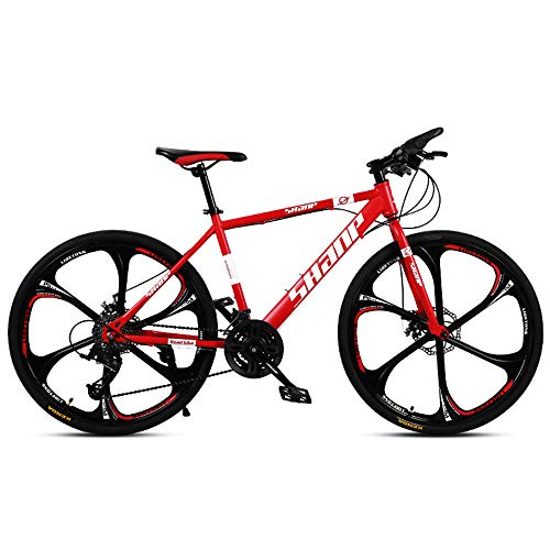 QWERF Bicycle Mountain Bike 24 Inch Bike 26 Inch Bike Double disc Brake Six Knife Integrated Wheel 21/24/27/30 Speed Bikes for Men Woman Multiple Colors (Red, 26 inch 30 Speed)