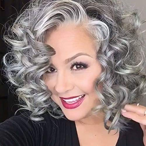 Beach Wave Grey Short Bob Hair Synthetic Lace Front Wig Side Parting Silver Gray Short Wavy Bob Wigs for Women Cosplay Daily