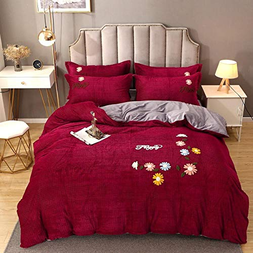 COVERLETWARM Bedspreads Bedding 200X230Cm Embroidered Four Piece Sheet flannel Sleepdown Block Microfiber Plain Dye Duvet Cover Quilt Bedding Set with Pillowcases Easy Care Soft Warm Cosy Wine Red B