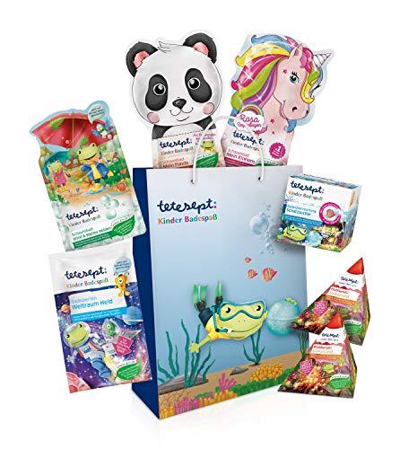 tetesept Kinder Badespaß Geschenkset - Pflegende Schaumbäder, Badeperlen, Badesalz & Badeüberraschung - 7 x tetesept Badezusatz-Produkte
