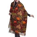 Tengyuntong Bufanda de mantón Mujer Chales para, Lesmus Autumn Pumpkins 3D Impreso Casual Cashmere Algodón Bufandas Talla única