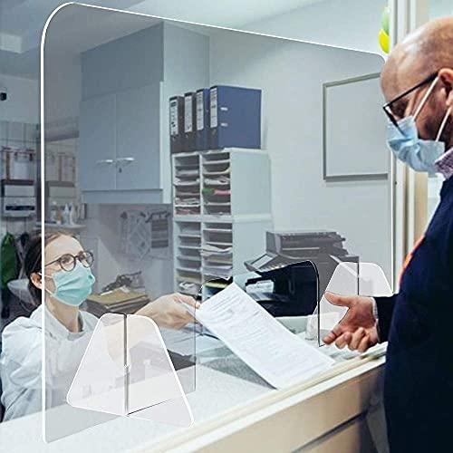 KMILE Protector de estornudos acrílico transparente, divisor de escritorio, barrera protectora contra estornudos y tos, ventana de transacción, 80 x 60 cm (tamaño: 1200 x 600 mm)