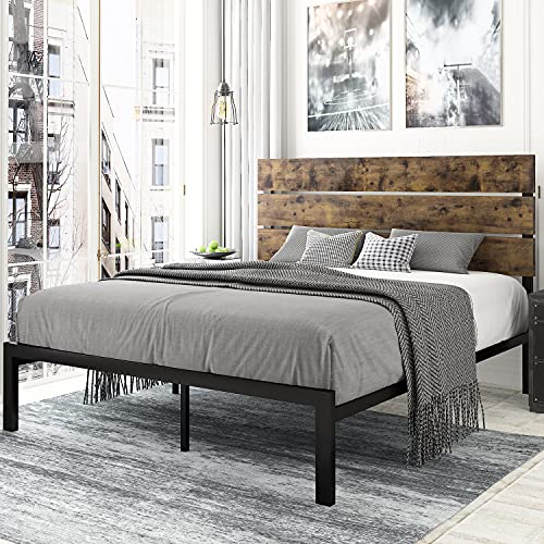 Amolife Queen Size Platform Bed Frame with Rustic Wooden Headboard / Mattress Foundation / Strong Metal Slats Support / No Box Spring Needed