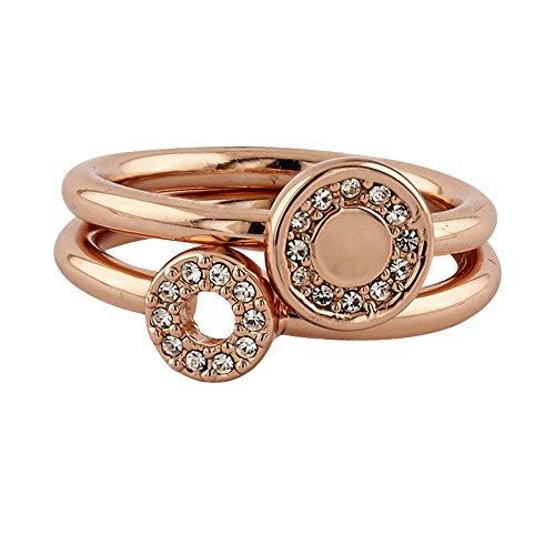 Buckley London Damen Ring-Set rosévergoldet mit Kristallen Messing Glänzend Kristall rosa 430070052