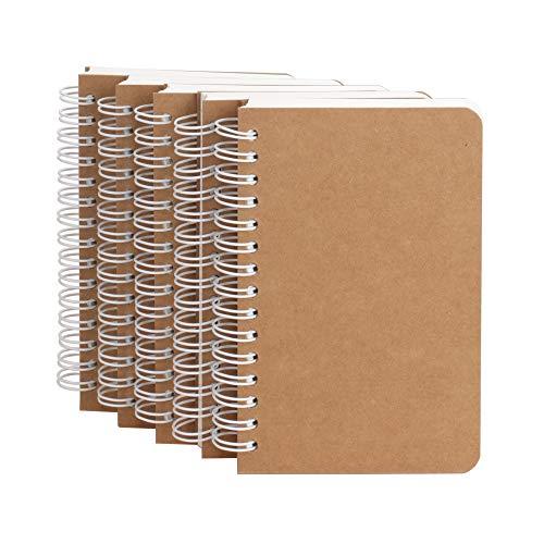 Spiralblock, Spiralbindung, DIN A6, 180 Seiten 5 Stück Blank