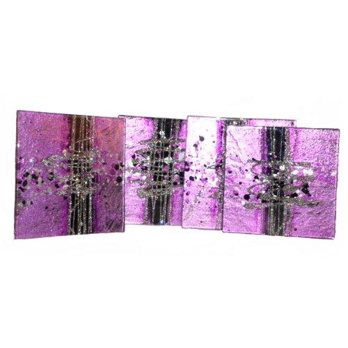 Aspire Art Glass Set di 4sottobicchieri in Vetro Cosmos, Viola, Nero e Argento